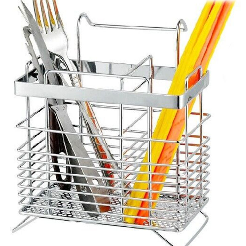 Stainless Steel Hanging Chopstick Cage High Quality Reinforced Kitchen Supplies Cutlery Storage Tool Square Can Be Drain Racks