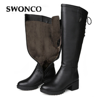 SWONCO Winter High Boots Women Real Leather Wool Fur Shoes Winter Warm Snow Boots Woman Booties 2019 Black Laides Boot Knee High