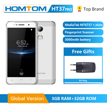 HOMTOM HT37 Pro Smartphone 4G Double haut-parleur MTK6737 5.0 pouces HD Android 7.0 3GB + 32GB 13MP 3000mAh identification d