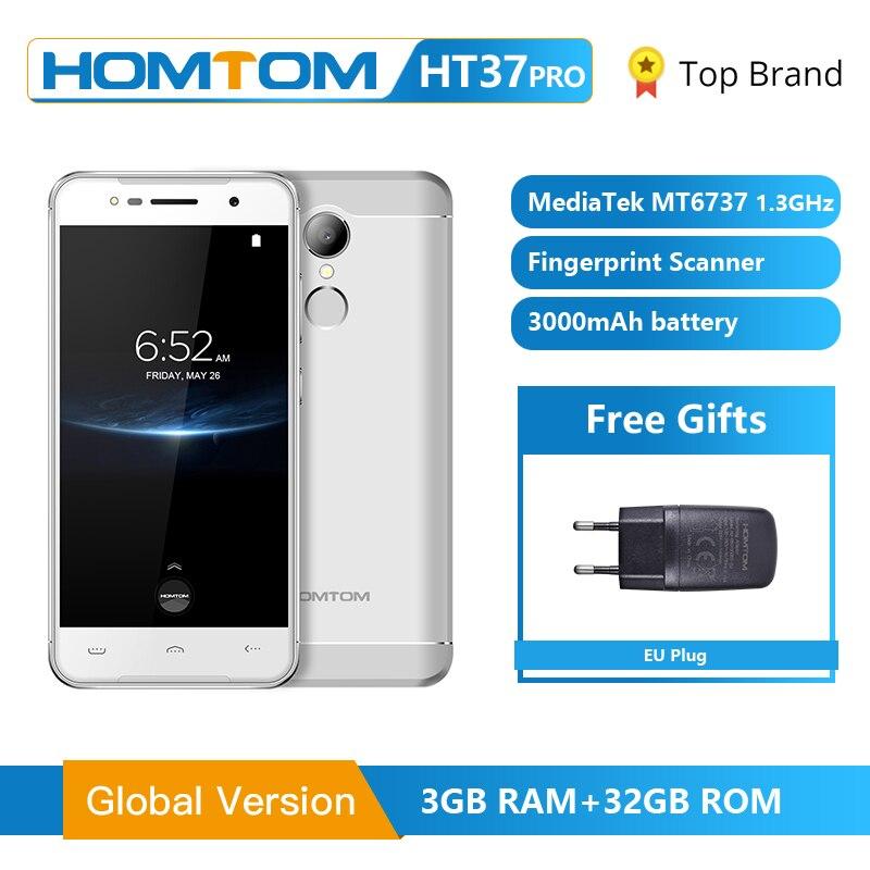 HOMTOM HT37 Pro Smartphones 4G Duplo Speaker MTK6737 5.0 GB 13MP Polegada HD Android 7.0 GB + 32 3 3000mAh Fingerprint ID Telefone Móvel
