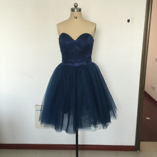 Navy Short Tulle Bridesmaid Dresses Sweetheart Sleeveless Backless Zipper Pleats Sexy Custom Made Plus Size Fashion Short Party