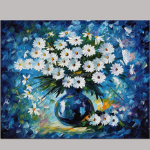Hand Painted daisy flower canvas oil painting modern design daisy oil painting palette knife oil painting