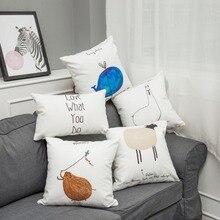 Nordic Style Cushions Cover Cute Animals Pillowcase Soft Lint Sofa Bed Home Decorative Throw Pillow Funda Housse Cushion