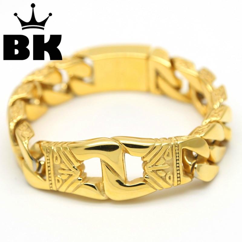 Hip Hop Jewelry Mens Stainless Steel Solid Heavy Gold Bling Massive Cuban Curb Chain Bracelet For Men Women Nightclub Bar stylish shining rivet embellished nightclub hip hop street performance baseball cap for women