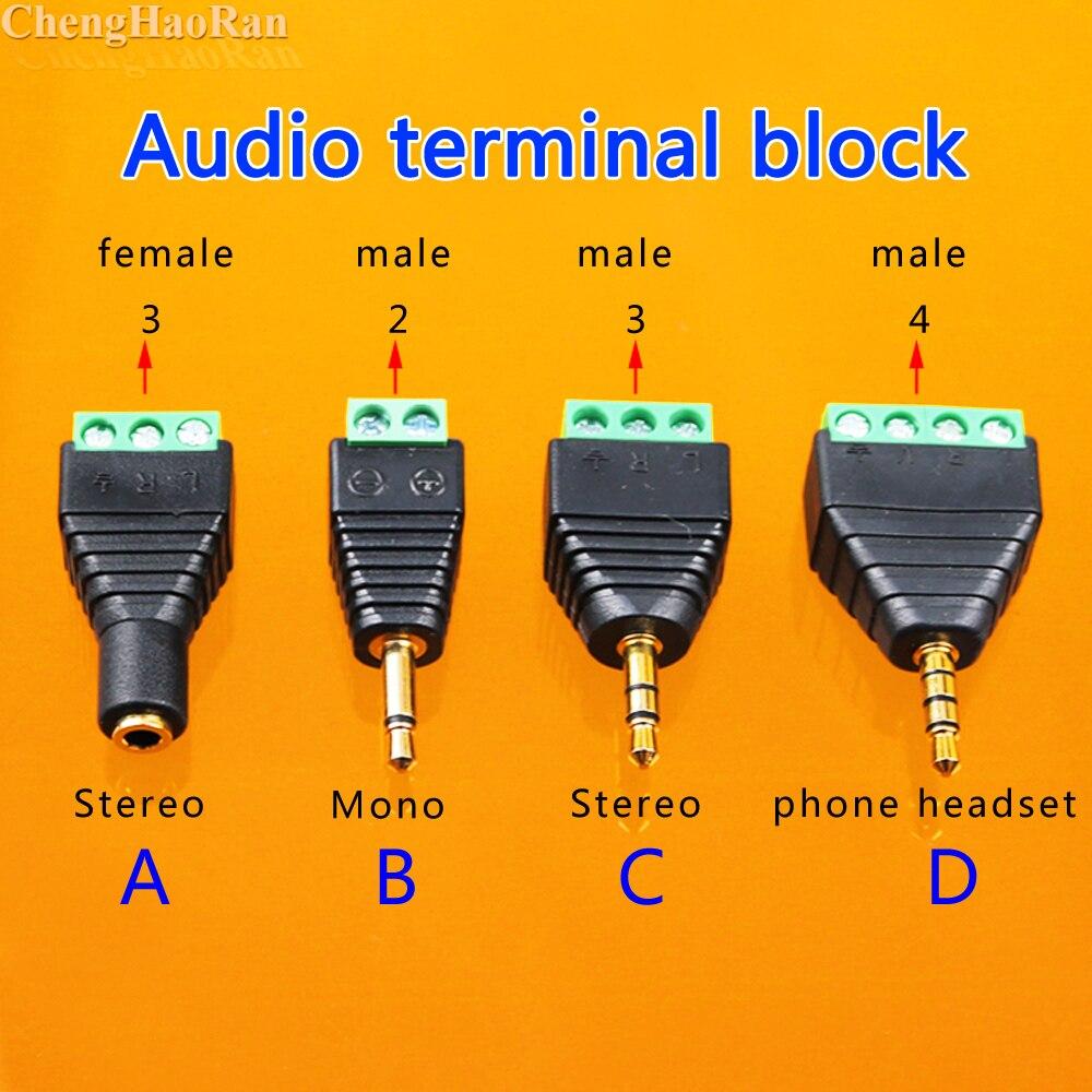 ChengHaoRan 1pcs 3.5mm Stereo Adapter 3.5 Audio Mono Plug To Screw Terminal Audio Mono Plug Audio Connector Screw Connector