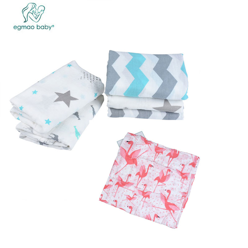 EGMAO BABY 3pcs/lot Muslin 100% Cotton Baby Blanket Flamingo Sleeping Bath Towel Infant Aden Anais Envelopes For Newborns anais gillian комбинация