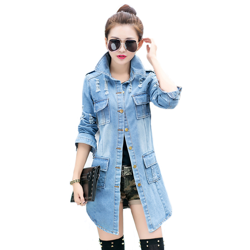 Plus Size Women Denim Slim Coat Jean Jackets Casual Women Long Coat Single Breasted Overcoats 455