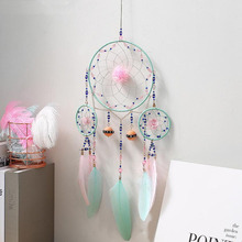 New ins Dream Catcher Feather Wind Chimes Home Ornaments Key Rings Car Rearview Mirror Pendant Jewelry Hanging Accessories