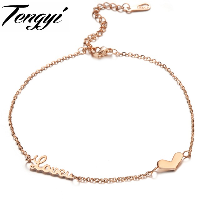 TENGYI Hot Sale Casual Rose Gold Color Heart Anklet Trendy Foot