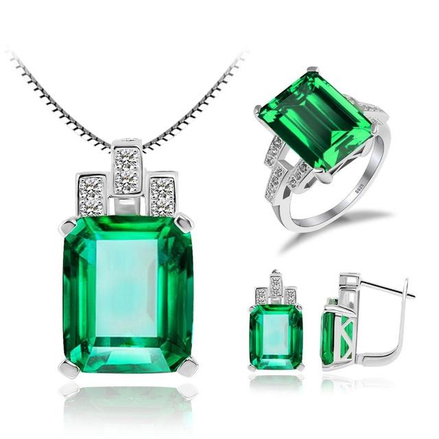 Jewelrypalace nano ruso esmeralda creado azul zafiro de rubíes rojo del anillo de sistemas de la joyería de plata de ley 925 colgante de collar de la joyería