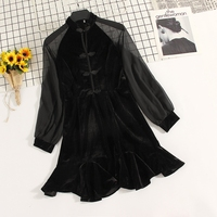 Spring New Vintage Mesh Patchwork Long Sleeve Chinese Button Black Dress Stand Collar Sexy Gold Velvet