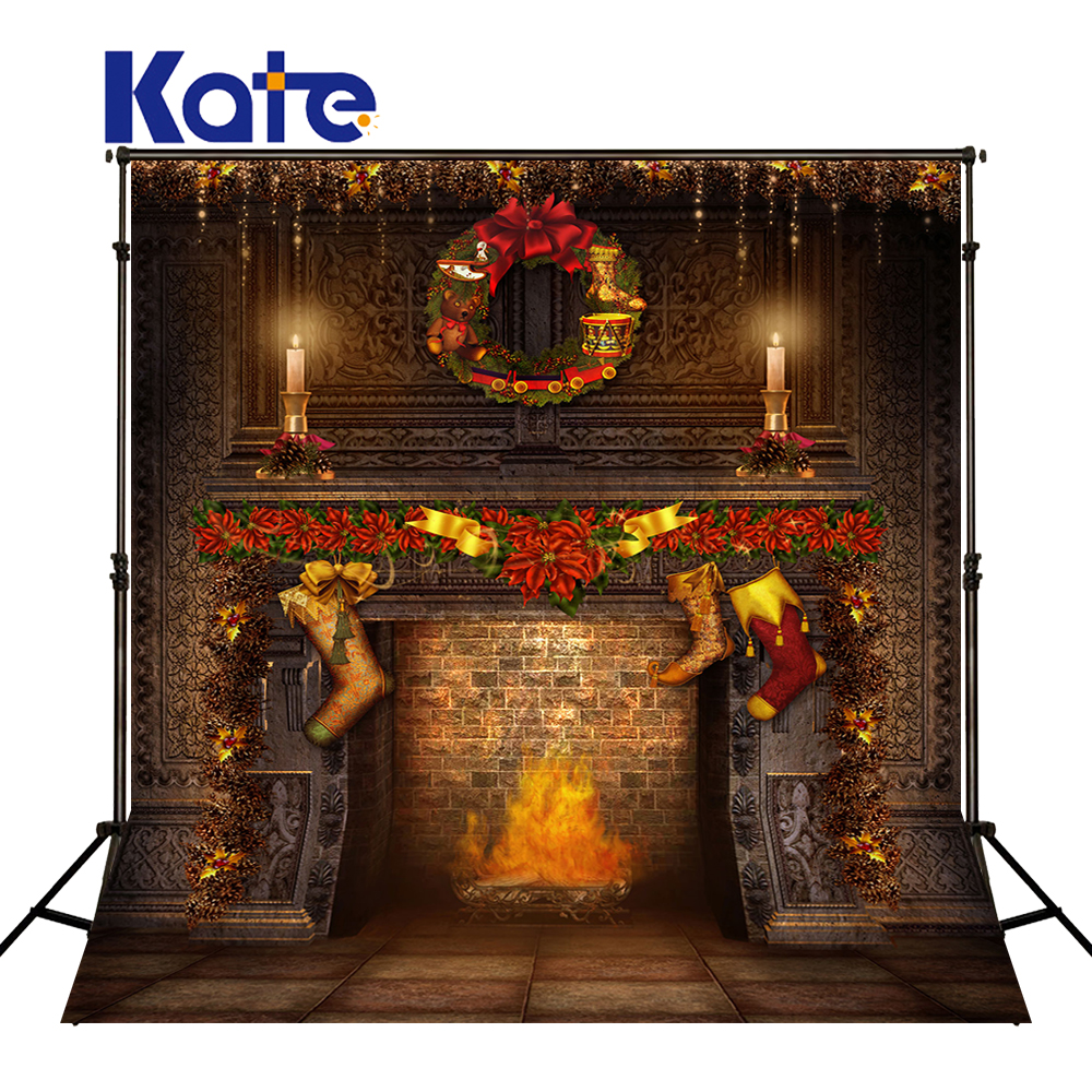 KATE Kids Christmas Backdrop Vintage Family Baby Backdrops Christmas Fireplace Backdrop Brick Wall Background for Photo Studio allenjoy christmas backdrop tree gift chandelier fireplace cute professional background backdrop for photo studio