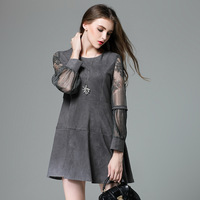 Lace Sleeve A Line Mini Suede Dress Xl 4xl 5xl