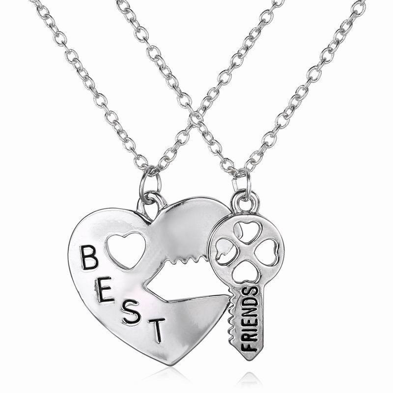 2Pcs Fashion Friendship Broken Heart Parts 2 Best Friend Necklaces & Pendants Share With Your Friends 2017 New Style image