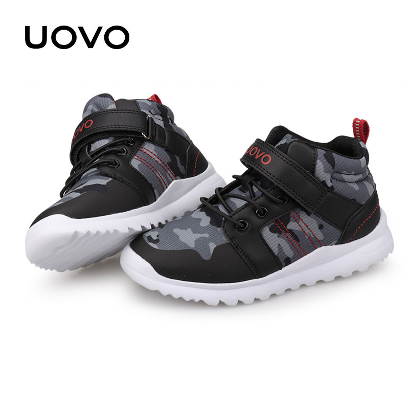 все цены на Kids Slip-on Sneakers Uovo Brand Children Casual Shoes Spring Autumn Boys Girls Camouflage Sports Shoes Size 29-37 Mesh Shoes онлайн
