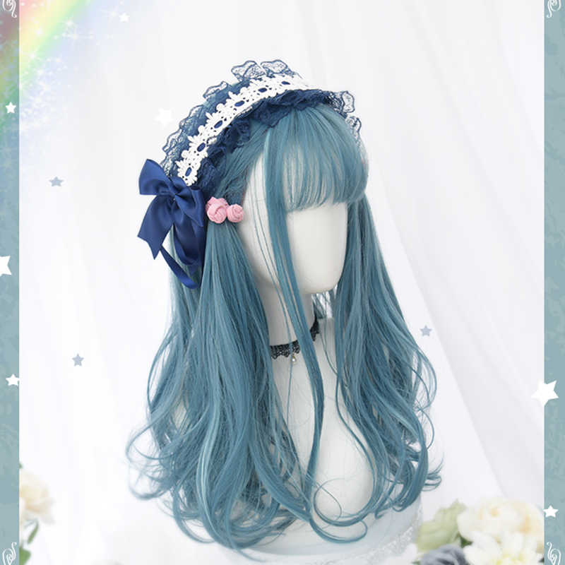 Beautiful Long Curly women Hair Cosplay Wig Synthetic wig Lolita kawaii Blue Hair women Fashion Girls Lolita Wig Cute Unique