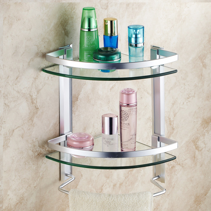 bathroom shelves aluminum shelf toughened glass bathroom towel rack corner cosmetic stand angle double layer with rod ICD60037 double celebration of finishing the cracks movable side refrigerator kitchen corner shelf plastic three shelves 1064