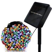 F5 50/100/200/500 светодио дный открытый солнечный светильник светодио дный строки Фея праздник для рождественской вечеринки гирлянды Солнечный сад Водонепроницаемый огни