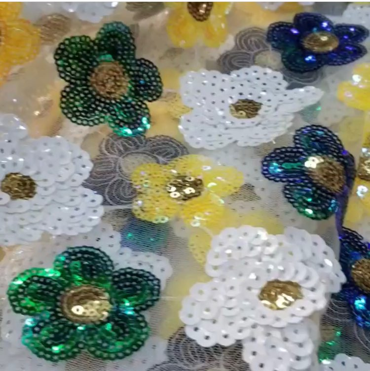 Green Yellow White African Lace Fabric With Sequins beads 2019 Latest Fabric High Quality Velvet Tulle