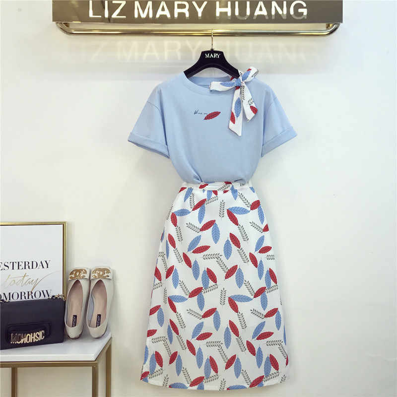 2019 Summer New Bow Tie T-shirt + Leaves Printing Chiffon Skirt Two Pieces Girls Lady Slim Skirts Sets Women Clothes