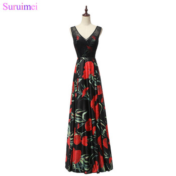 9 Style Black Evening Dresses with Floral Print Corset Lace Up Back Floor Length Long Evening Gown
