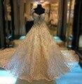 Rhinestone De lujo del marfil Vestidos vaporosos volver boda 2016 tren real encaje largo Vestidos De Novia vestido De Novia Vestidos De Novia WD099