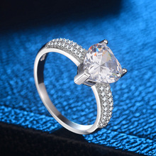 NEW fashion 925 Silver Heart Rings For Women CZ rings wedding Engagement Bijoux jewelry