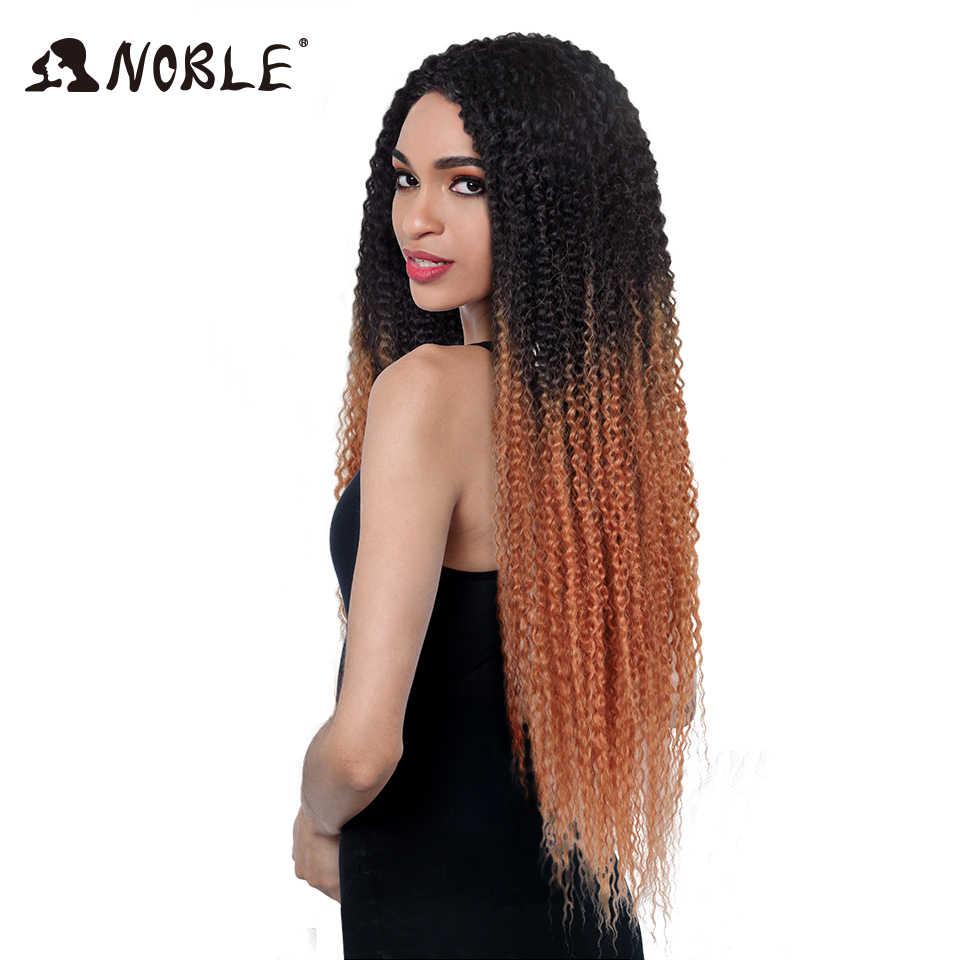 """Noble Kinky Krullend Ombre haar bundels Synthetisch Haar Krullend Weave Super Lange 1 Pcs 28 """"-32"""" Blonde bruin Haar Bundels"""