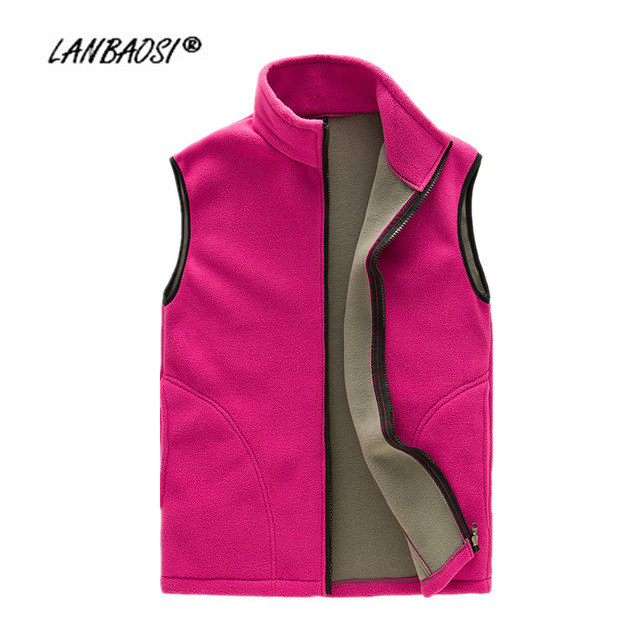 2477e85aed6 LANBAOSI Thick Fleece Vest for Women Waistcoat Zipper Fly Pockets Winter  Autumn Warm Thermal Soft Vests