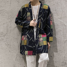 Traditional Chinese Dragon Trench Mens Loose Printed Open Stitch Fashion Spring Thin Plaid Mens Trench Large Size