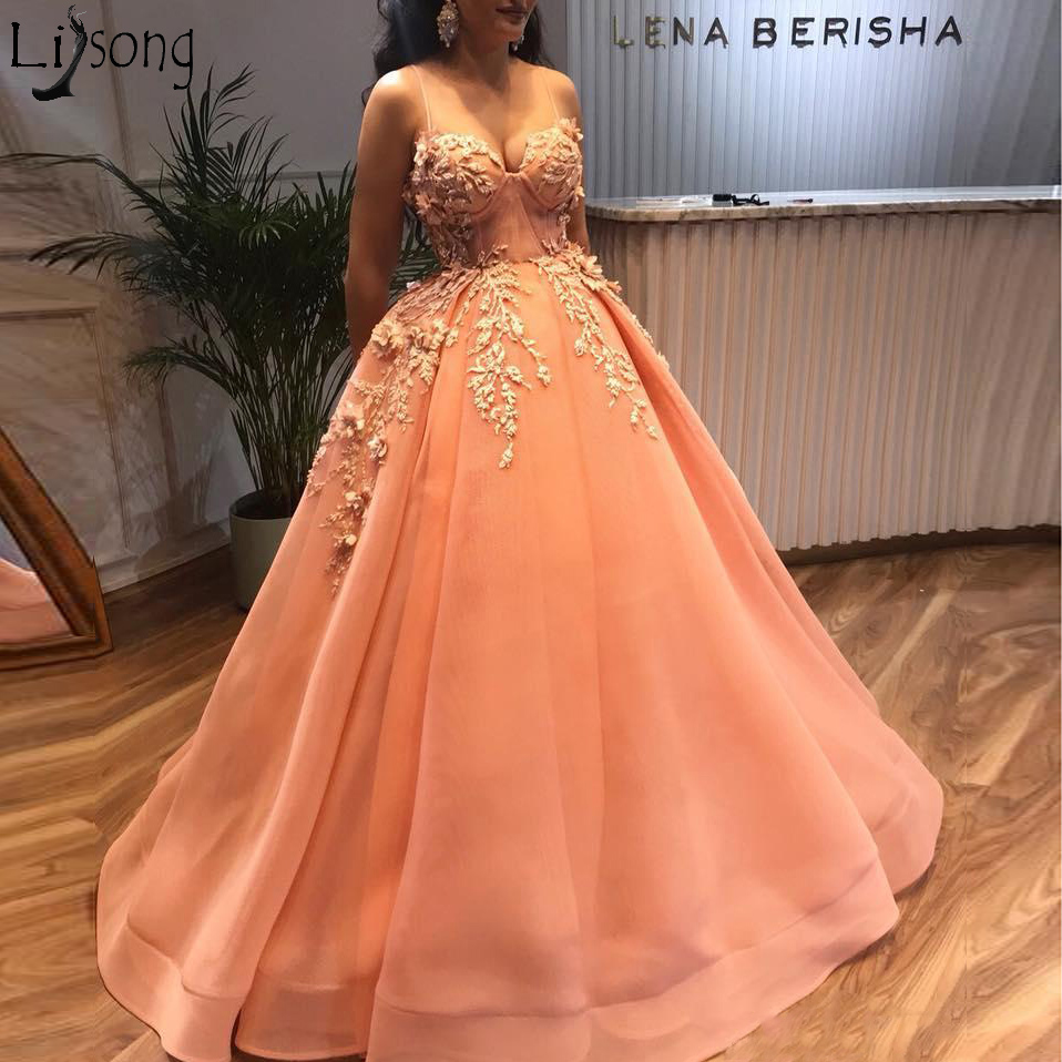 2019 Arabic Beaded Evening Dresses Spaghetti Neck Ball Gown Prom Dress Sexy Orange Formal Party Bridesmaid Pageant Gowns 169