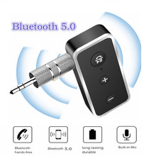 3.5mm AUX Bluetooth 5.0 Handsfree Car Kit Wireless A2DP Audio Receiver Mp3 music Transmitter for Car Speaker Mp3 player Earphone(China)