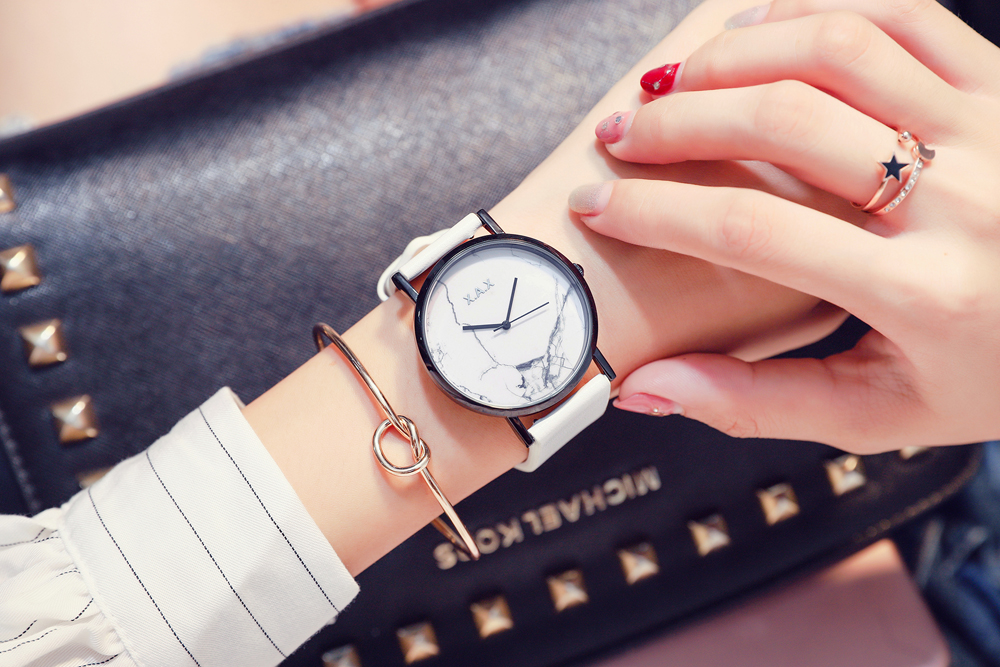 White Marble Watches Women Genuine Leather Straps