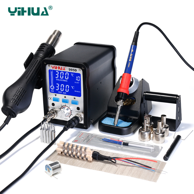 YIHUA 995D Soldering Station 60W Large Soldering Iron 650W Hot Air Gun With Free Gift 2 In 1 SMD BGA Rework Station Welding Tool