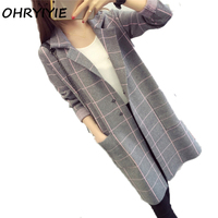 OHRYIYIE High Quality Long Cardigan Women Sweater 2018 New Autumn Winter Long Sleeve Knitted Plaid Cardigans Female Tricot Tops