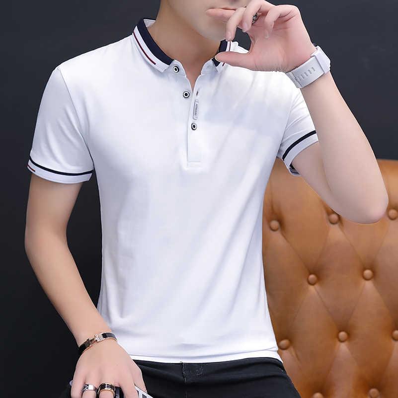 BROWON 2019 הגעה חדשה קיץ חולצה גברים קצר שרוול Slim Fit Tshirts תורו למטה צווארון טי חולצה Homme