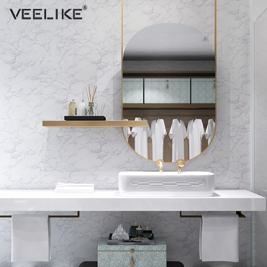 1M Self Adhesive Marble Solid Color Wallpaper Vinyl PVC Waterproof Bathroom Decor Sticker Living Room Desktop Refurbished Decals
