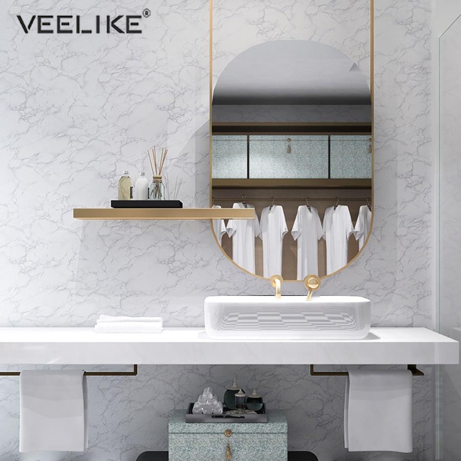 1M Self Adhesive Marble Solid Color Wallpaper Vinyl PVC Waterproof Bathroom Decor Sticker Living Room Desktop Refurbished Decals