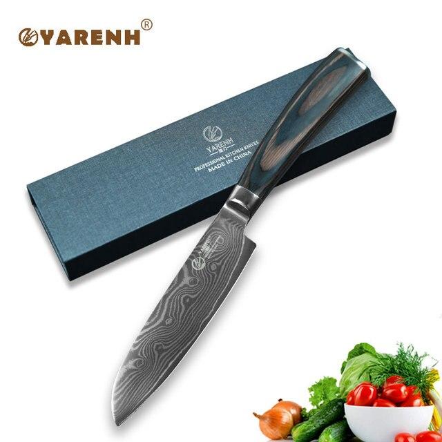 Yarenh 5 Damascus Steel Santoku Knives Color Wood Handle Best Kitchen Fillet Knife Anese