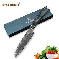 YARENH 5 Damascus Steel Santoku Knife Color Wood Handle Best Kitchen Knives Fillet Knife Japanese Chef