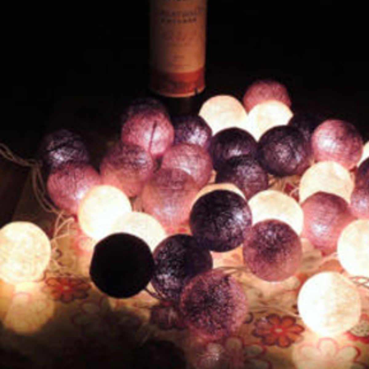 Cổ tích Led Chuỗi 20 Quả Bóng Bông Đèn Balls Dây Home Room Decor Wedding Birthday Party Patio Cưới Giáng Sinh Ornament