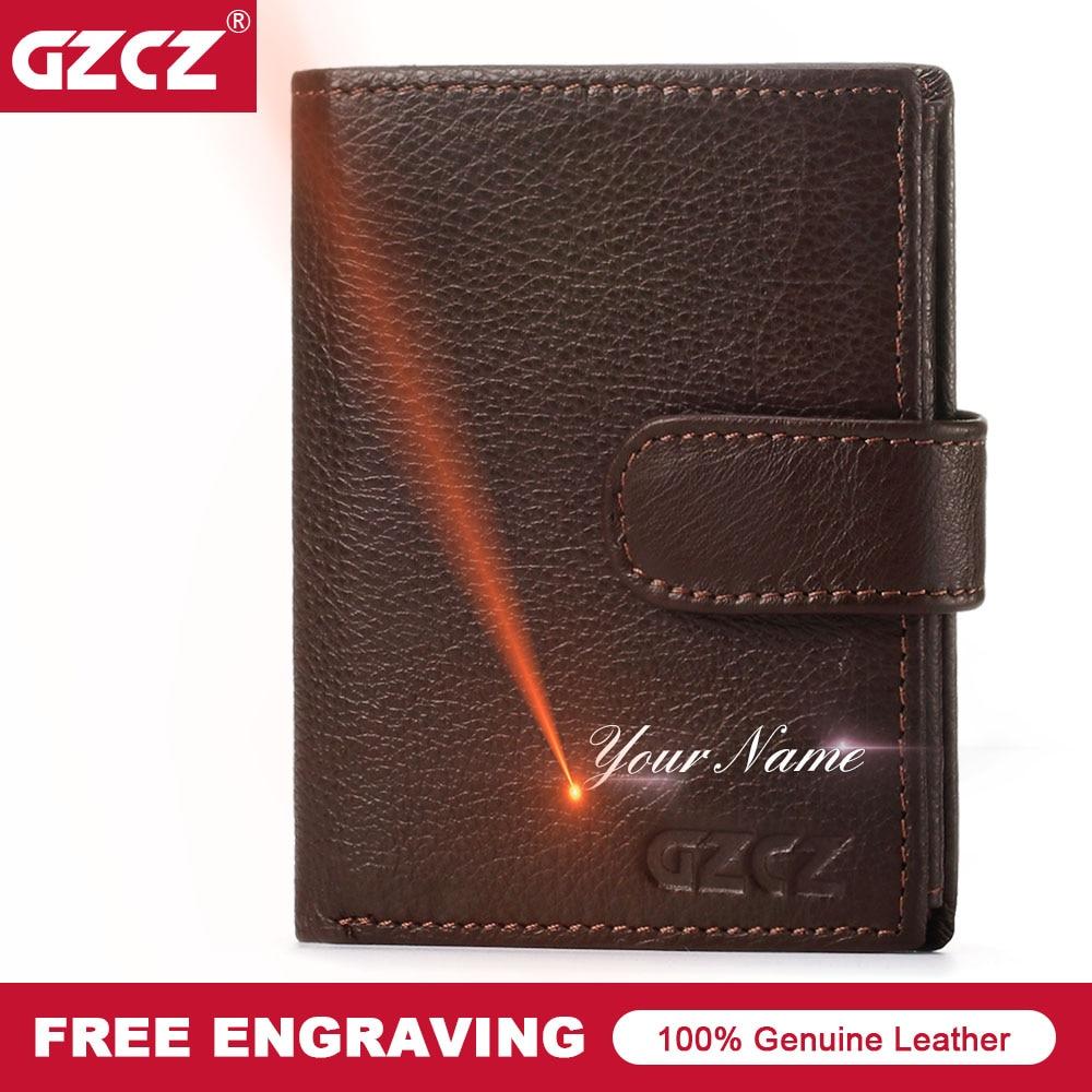 GZCZ 2018 MenS Genuine Leather Wallet Vintage Short Male Purse Card Holder Coin Pocket Trifold MAN PURSE Money Bag Portomonee