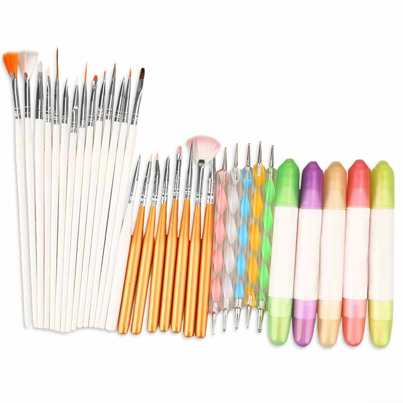 High Quality Manicure Sets Tools 3 IN 1 Nail Art Design Set Dotting Drawing Painting Polish Brush Pen 88