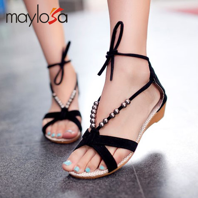 new arrival 2015 font b women b font sandals low heel wedges summer casual single shoes