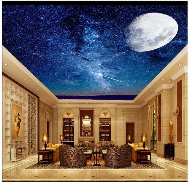 US $11.53 56% OFF Individuelle foto tapete 3d decke tapete wandbild Traum  star super mond abgehängte decke wandmalereien für wohnzimmer dekoration in  ...