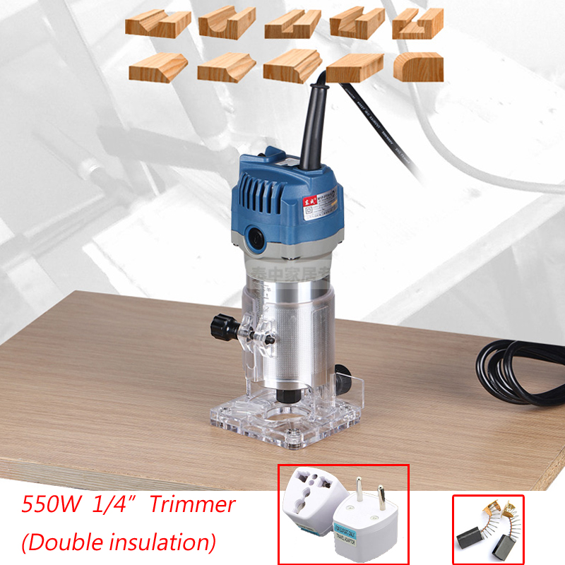 1/4 Trimmer 6.35mm Electric Woodworking Trimmer 550W Electric Trimmer 220-240V Wood Router Electric Wood Edge(Double-insulated) цена