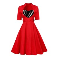2017 European Hot Vintage Prom Party Heart Dot Dress Vestidos Vestido Clothing Women Stand Collar Slim