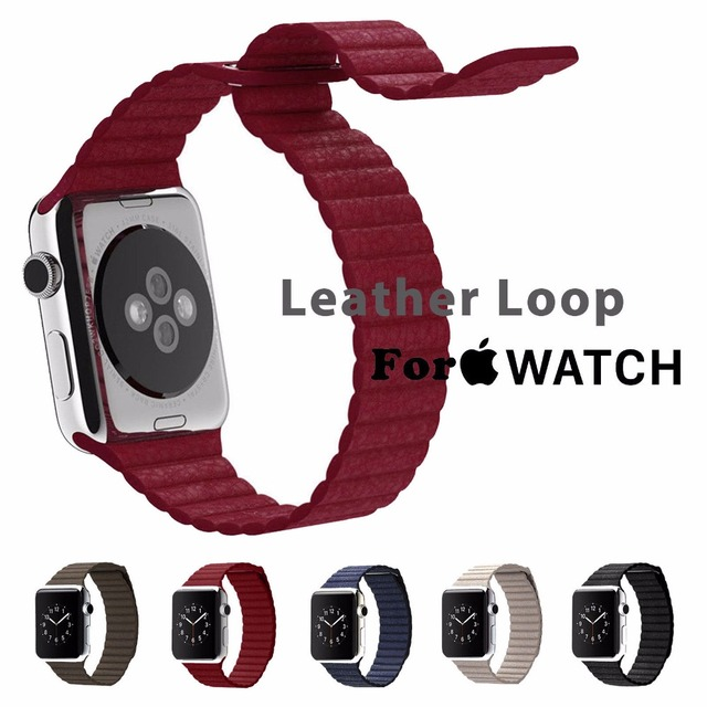 Magnetic Leather Loop For Apple Watch band Strap Fitness 42mm 38mm for iWatch Band Sport Edition New Wholesale Midnight blue