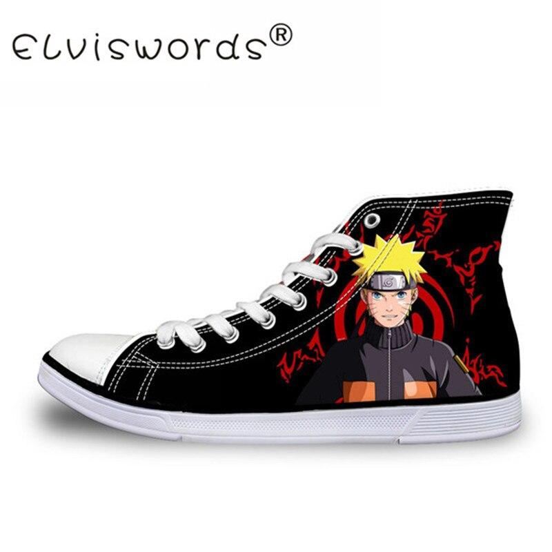 ELVISWORDS Man Classic Shoes Anime Naruto Cool Uchiha Itachi Canvas Shoe Cool 3D Print Flats Fashion Cartoon Vulcanize Shoes худи print bar cool dude