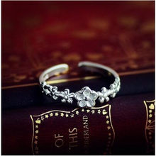 Thai Silver Jewelry Open Ring For Lover Best Gifts Wave flower Star Design Vintage 925 Sterling Silver Rings For Women(China)